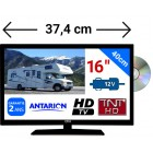"COMBINÉ TV/DVD CAMPING CAR LED 16"" 39,6cm 24V 12V ANTARION - ATVDVD16HD"