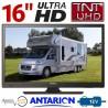 "ATV16UHDB - TÉLÉVISEUR pour camping car camion fourgon LED 16"" 39,6cm UHD 220V 24V 12V ANTARION TV16B"