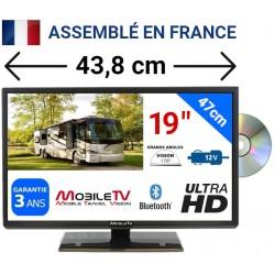 """VISION19DVD - COMBINÉ TV DVD ULTRAHD LED 19"""" 47cm 24V 12V"""