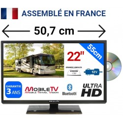"MTV20DVD/SAT - COMBINÉ TV DVD LED 19"" 49cm 12V SATELLITE + CARTE FRANSAT"