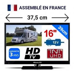 "HRV16HD - TÉLÉVISEUR LED 16"" 39,6cm HD 24V 12V 8W MOBILETV"