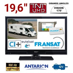 "TV CAMPING CAR ANTARION LED HD 19"" 49cm 12V SATELLITE ATVLT20FRANSAT  + CARTE FRANSAT"