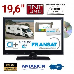 "COMBINÉ TV/DVD CAMPING CAR LED 19,6"" 49cm HD 12V SATELLITE ANTARION + CARTE FRANSAT - ATVLT20DVDFRANSAT"