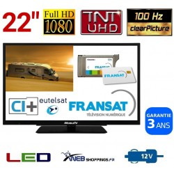 "MTV22DVDSAT - COMBINÉ TV DVD TNTHD LED 22"" 56cm 12V SATELLITE + CARTE FRANSAT"