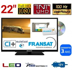 """MTV22DVDSAT - COMBINÉ TV DVD TNTHD LED 22"""" 56cm 12V SATELLITE + CARTE FRANSAT"""