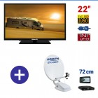 "PACK CAMPING CAR TV 22"" ANTENNE SATELLITE PARABOLE 72cm : MTV22 + AUTO72 G6+"