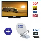 "PACK CAMPING CAR TV 22"" ANTENNE SATELLITE PARABOLE 60cm : MTV22 + COMPACT 60"