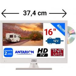 "ATVDVD16HDBL - COMBINÉ TV DVD BLANC LED 16"" 39,6cm HD 24V 12V ANTARION"