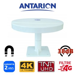 Antenne TV pour camping car camion fourgon aménagé omnidirectionnelle TNT TNTHD UHD UltraHD TNTUHD 38dB ANTARION