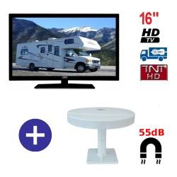 TELEVISEUR ATV16HDA + ANTENNE OMNIVISION PIED AIMANTE