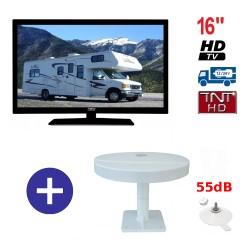 TELEVISEUR ATV16HDA + ANTENNE OMNIVISION PIED VENTOUSES