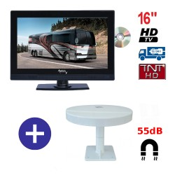TELEVISEUR ATVDVD16HD + ANTENNE OMNIVISION PIED AIMANTE