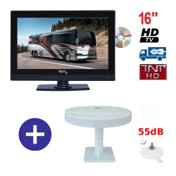 TELEVISEUR ATVDVD16HD + ANTENNE OMNIVISION PIED VENTOUSES