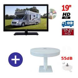 TELEVISEUR ATVDVD19HD + ANTENNE OMNIVISION PIED VENTOUSES