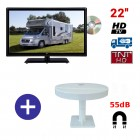 TELEVISEUR CAMPING CAR ATVDVD22HD + ANTENNE OMNIVISION PIED AIMANTE