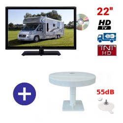 TELEVISEUR ATVDVD22HD + ANTENNE OMNIVISION PIED VENTOUSES