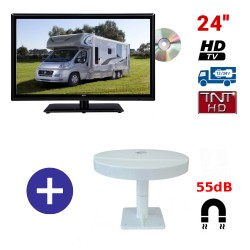 TELEVISEUR ATVDVD24HD + ANTENNE OMNIVISION PIED AIMANTE