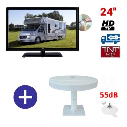 TELEVISEUR ATVDVD24HD + ANTENNE OMNIVISION PIED VENTOUSES