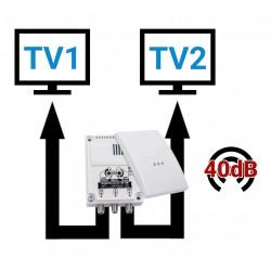 AMPLIFICATEUR ANTENNE TV 40dB POUR 2 TELEVISIONS CAMPING CAR - OMNIAMPLI