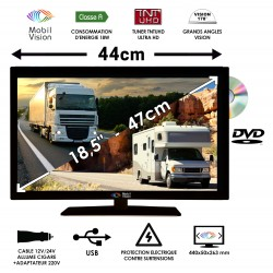 "MOBILVISION COMBINE TV  CAMPING CAR / DVD 18,5"" 47cm - TVWS19DVD"