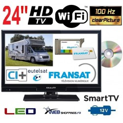 "MTV24DVDSAT-SMARTTV - COMBINÉ TV DVD WIFI LED HD 24"" 60cm 12V SATELLITE + FRANSAT"