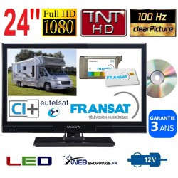 """MTV24DVDSAT - COMBINÉ TV DVD LED 24"""" 60cm 12V SATELLITE"""