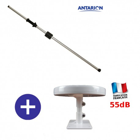 OMNI.T - ANTENNE 55dB TNTHD CAMPING CAR OMNIDIRECTIONNELLE  + MAT ANTENNE 160CM